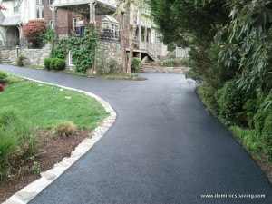 Asphalt driveway with natural stone trim 2 - Bethesda MD